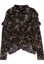 Isabel Marant Sibel Ruffled Floral-print Silk Blouse - Black