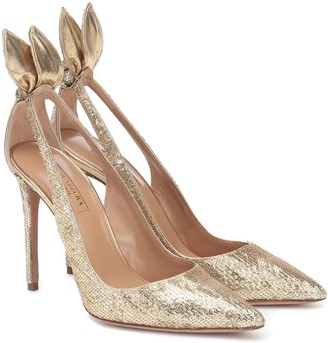 Aquazzura Bow Tie 105 sequined pumps