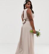TFNC Plus Plus Bridesmaid exclusive bow back maxi in mink