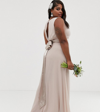 TFNC Plus Bridesmaid exclusive bow back maxi in mink
