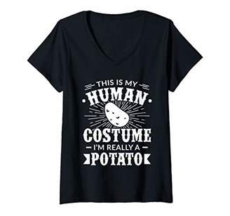 Womens Human Costume Im Really a Potato gift for Vegetable Lovers V-Neck T-Shirt
