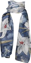 Invisible World Hand-Painted 100% Silk Scarf - Lilies on Blue