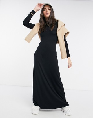 ASOS DESIGN high neck long sleeve maxi dress in black