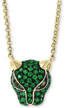 """Effy Certified Ruby (1/2 ct.t.w.) and Tsavorite Accent Panther 18"""" Pendant in 14K Yellow Gold"""