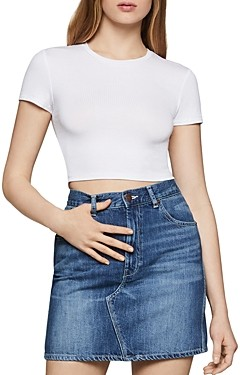 BCBGeneration Cropped Rib-Knit Baby Tee