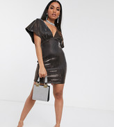 Asos DESIGN Petite metallic batwing mini dress in black