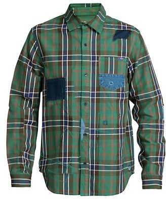 PRPS Scribble Embroidered Patch Plaid Shirt
