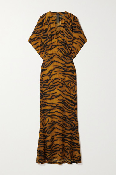 Thumbnail for your product : Norma Kamali Obie Tiger-print Stretch-jersey Maxi Dress - Camel