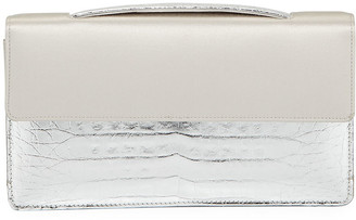 Nancy Gonzalez Small Satin & Crocodile Evening Clutch Bag