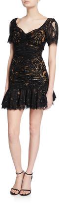 Jonathan Simkhai Metallic Lace Mini Ruffle Dress