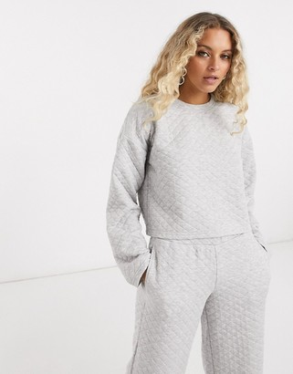 Noisy May quilted sweater set in gray
