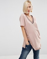 Asos T-Shirt With V Neck And Tipped Ruffle In Longline
