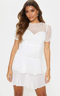 PrettyLittleThing White Lace Puff Sleeve Shift Dress