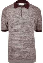 River Island Mens Burgundy textured zip-up polo shirt