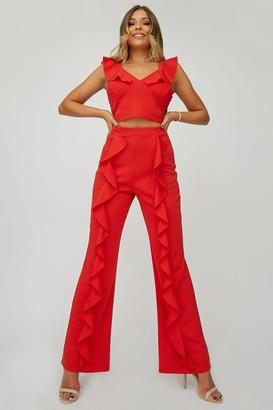 Little Mistress X Zara Mcdermott x Zara McDermott Red Frill Trousers Co-ord