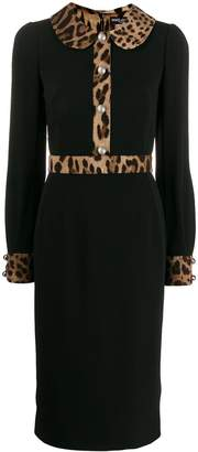 Dolce & Gabbana leopard-print trim dress