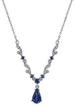 "Downton Abbey Silver-Tone Blue Crystal French Scroll Linked Necklace 16"" Adjustable"
