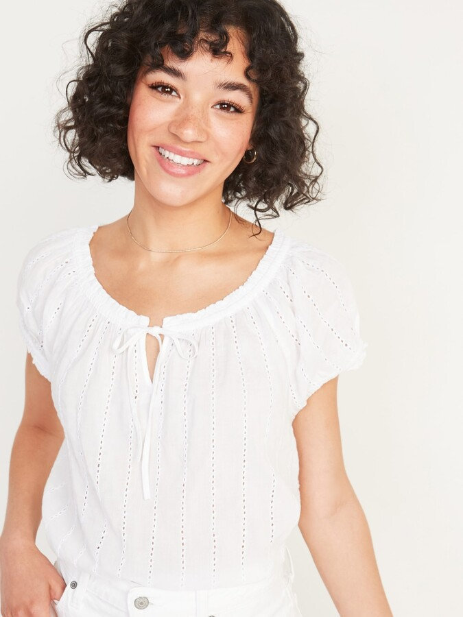 Thumbnail for your product : Old Navy Tie-Neck Eyelet Puff-Sleeve Blouse for Women