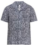 120% Lino Short-sleeved Aztec-pattern linen shirt
