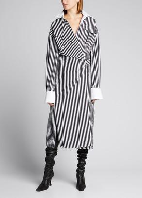 Proenza Schouler Striped Cotton Wrap Shirtdress
