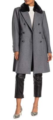 Vince Camuto Faux Fur Collar Wool Coat