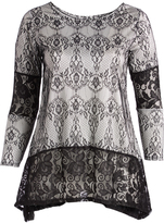 Glam Black & White Lace-Accent Sidetail Tunic - Plus