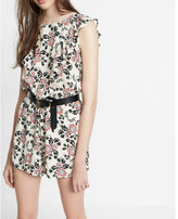 Express Floral Print Ruffle Front Romper