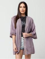 GOOD LUCK GEM Crochet Trim Womens Kimono