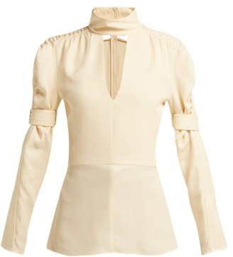 Chloé High-neck Silk-blend Blouse - Womens - Ivory