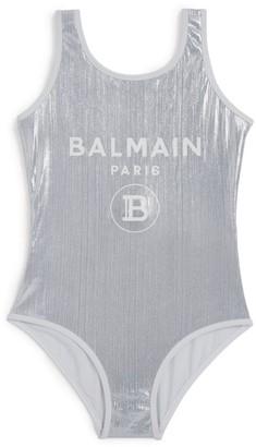 Balmain Kids Metallic Logo Swimsuit (8-16 years)