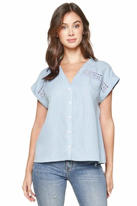 Sugar Lips Sugarlips Women's Cannes Crochet Trim Button Down Top