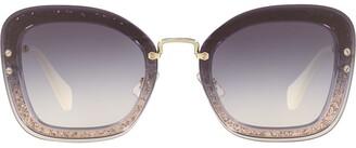 Miu Miu Oversized Squared Glitter Sunglasses