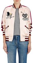 Valentino Women's Tattoo-Embellished Silk Satin Bomber Jacket