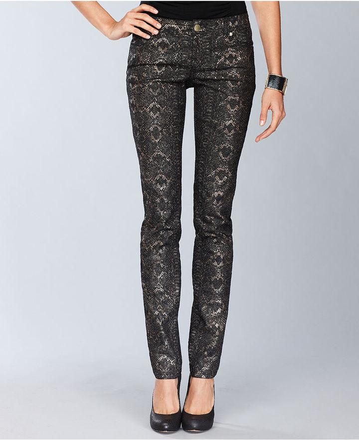 INC International Concepts Petite Jeans, Skinny Snake-Print Metallic