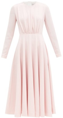 Emilia Wickstead Jorgie Gathered-bodice Flared Crepe Midi Dress - Light Pink