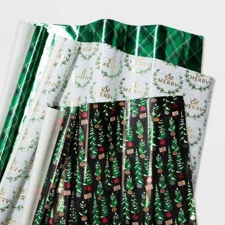 Multipack Christmas Gift Wrap Green Trees Plaid and Foliage - WondershopTM