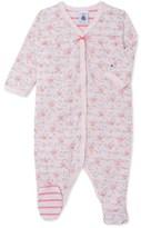 Petit Bateau Baby girls sleepsuit in print tube knit
