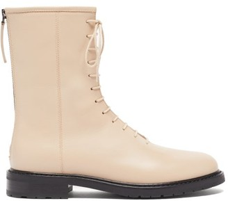 LEGRES Leather Combat Boots - Cream