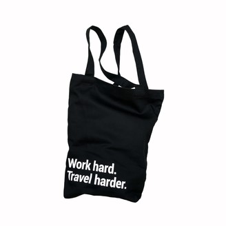 "Bold Tuesday Travel Tote Bag ""Work Hard"" With A Pocket & Lanyard"