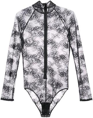 Fleur Du Mal Bouquet lace turtleneck bodysuit