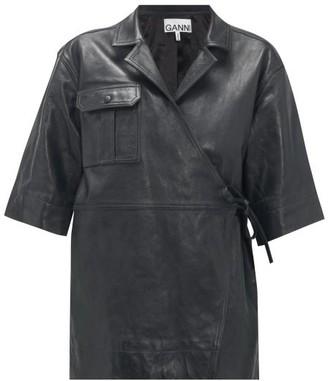 Ganni Tie-waist Leather Jacket - Womens - Black