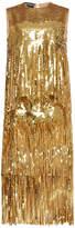 Rochas Sleeveless Sequin Fringe Dress