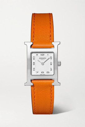 Hermes Timepieces Timepieces - Heure H 21mm Small Stainless Steel And Leather Watch - Orange