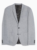TopmanTopman Navy and Grey Warm Handle Skinny Fit Single Breasted Suit Blazer WIth Notch Lapels