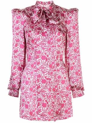 The Vampire's Wife Neck Tie Floral Silk Mini Dress