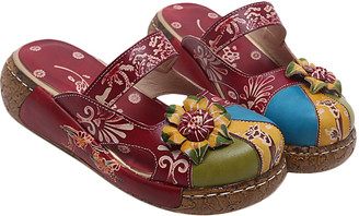 Sweet Acacia Women's Clogs Red - Red Floral Leather Clog - Women