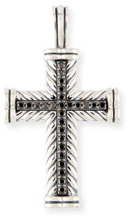 David Yurman Men's Sterling Silver & Black Diamond Cross Enhancer