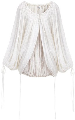 Ashish Sequinned Gathered Balloon-sleeve Top - White