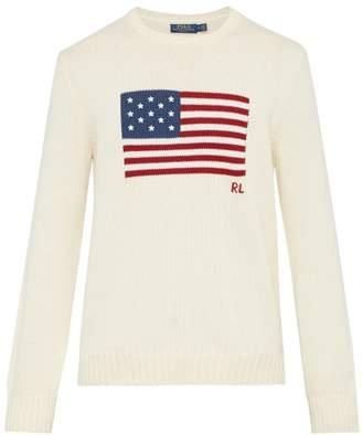 Polo Ralph Lauren Flag Intarsia Knitted Cotton Sweater - Mens - Cream