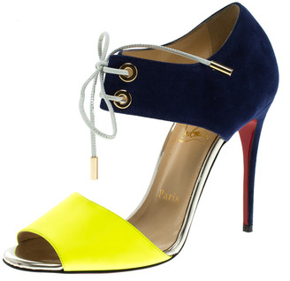 Christian Louboutin Two Tone Leather and Suede Mayerling Lace-Up Sandals Size 38